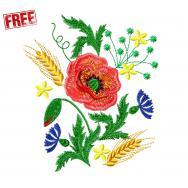 Poppies with cornflowers. Free design. #f076