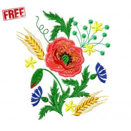 Poppies with cornflowers. Free design. #f076