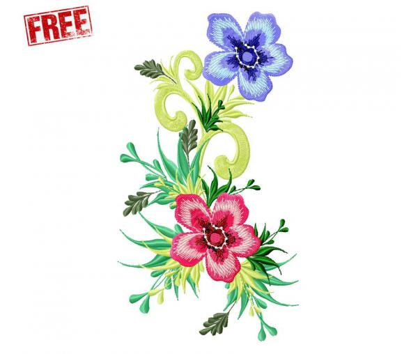 Free design for machine embroidery, Flower #0001