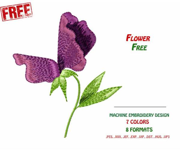Free design for machine embroidery, Flower # 0001