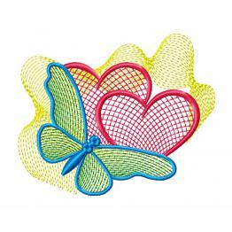 Ornament, zwei Herzen mit einem Schmetterling #0006