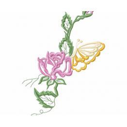 Freie Verzierung, Blume mit Schmetterling #0007