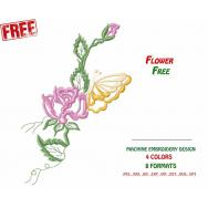 Free ornament, flower with butterfly #0007