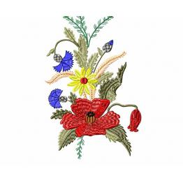 Free Design for Machine Embroidery, Poppy Floral Ornament, #0003