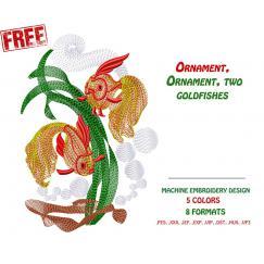 Бесплатный Дизайн для машинной вышивки (Золотые Рыбки) # 0005