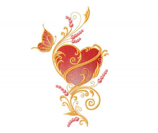 Орнамент с сердцем и бабочка #0008