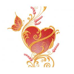Ornament with heart and butterfly #0008