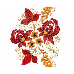 Ethnic pattern with red flowers #0010