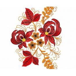 Ethnisches Muster mit roten Blumen #0010