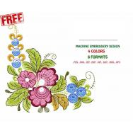 Ethnic Corner Pattern with Lilac Flowers #0012