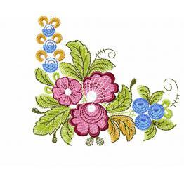 Ethnisches Eckmuster mit lila Blumen #0012