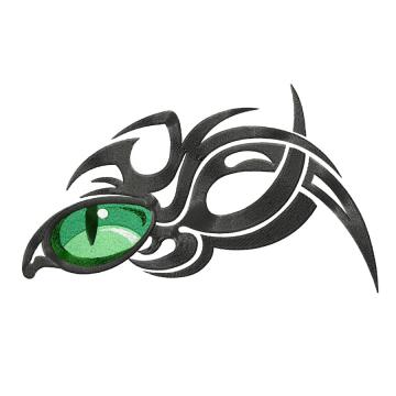 Green dragon eye embroidery in abstract style #0007