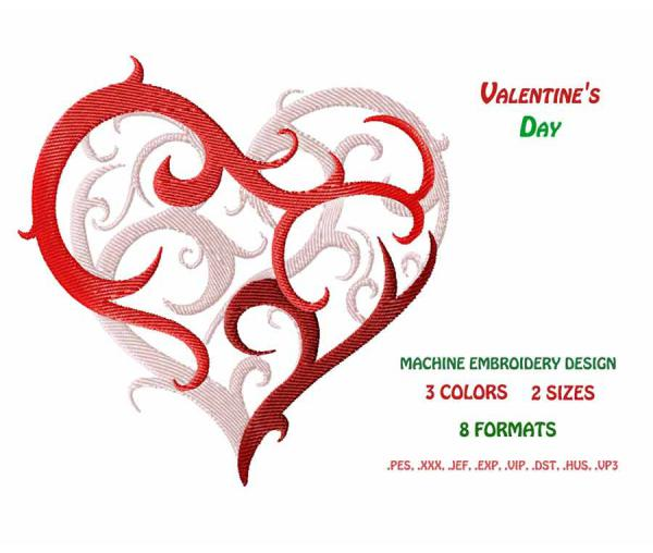 Valentine's Day. Scheme for Machine Embroidery #0024