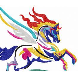 Лошадь пегас, абстрактная вышивка #0034