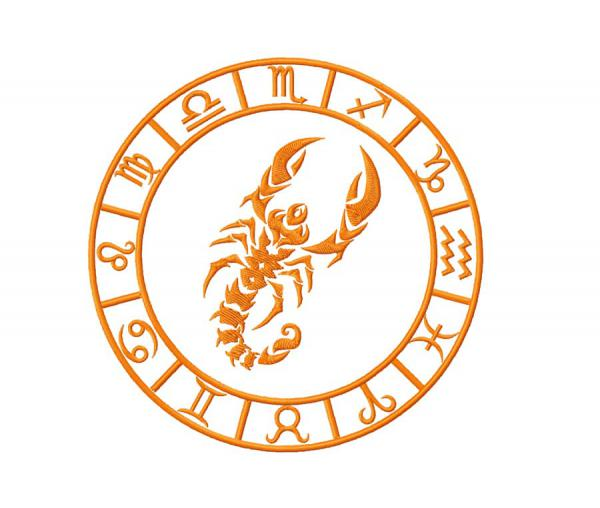 Zodiac sign Scorpio. Machine embroidery design #0045