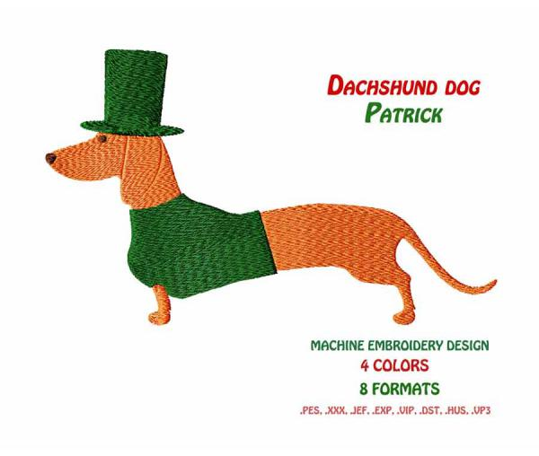 Machine Embroidery design. ST. Patrick's Day. Dachshund dog Patrick. Instant download