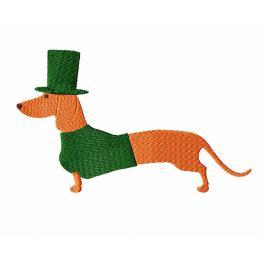 Maschinenstickerei Design. St.Patrick's Day. Dackelhund # 0053
