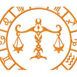 Libra, zodiac sign. Embroidery file #0055