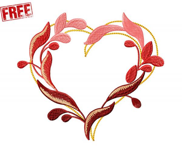 Heart of the leaves. free machine embroidery design #0058