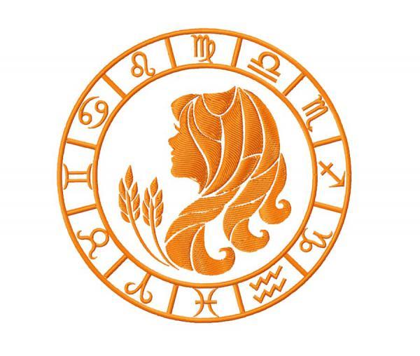 +Bonus. Virgo zodiac sign, machine embroidery design. #0074