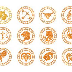 Collection of 12 Zodiac Signs. Machine Embroidery Design # 0091