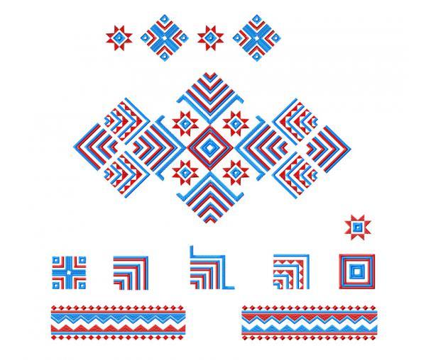 Collection de dessins cousus. Motifs ethniques #0190