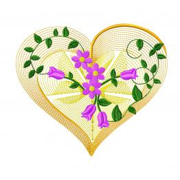 Openwork heart with flowers. Embroidery file #0298