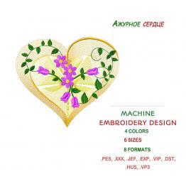 Coeur ajouré avec des fleurs. Fichier de broderie #0298