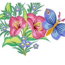 Ornement floral (papillon sur lys rouge) # 0310
