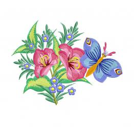 Floral ornament (Butterfly on the Red Lily) #0310