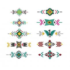10 Fragmente (Muster) aus der Serie South American Ornaments #0345