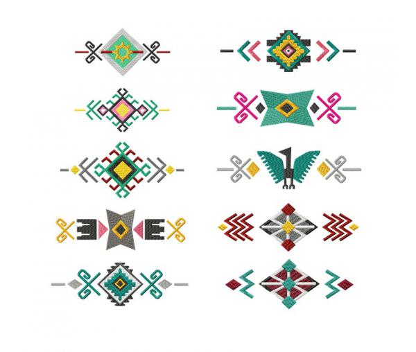 10 fragments (patterns) from the series South American Ornaments #0345