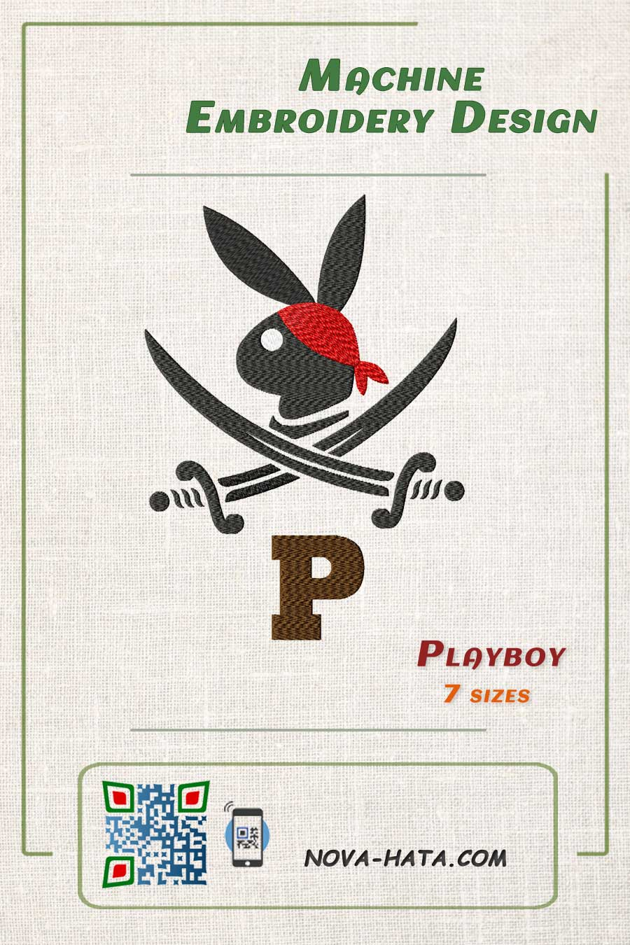 Pin, Playboy Pirate - Machine Embroidery Design # 0075